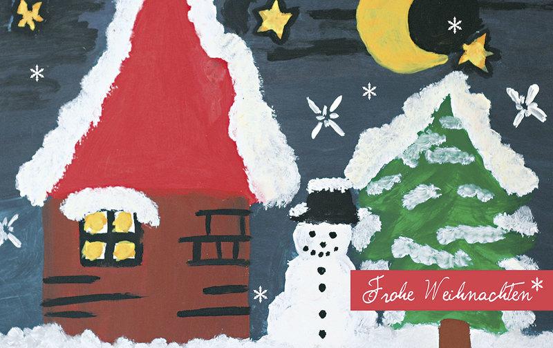 h tte und schneemann weihnachtskarten vom. Black Bedroom Furniture Sets. Home Design Ideas