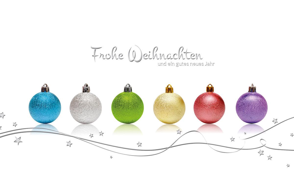 farbenfrohe kugeln weihnachtskarten vom. Black Bedroom Furniture Sets. Home Design Ideas