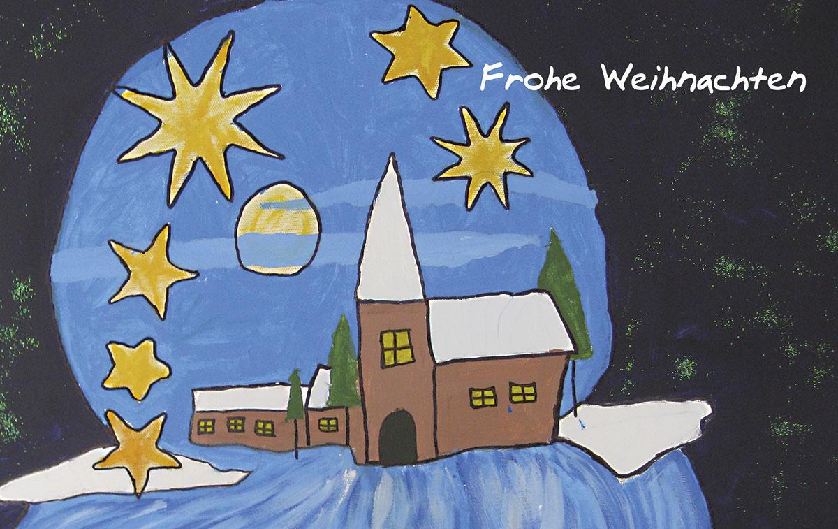 gemalte winternacht weihnachtskarten vom. Black Bedroom Furniture Sets. Home Design Ideas